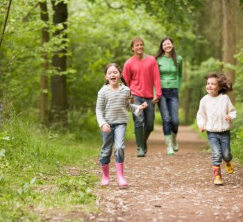 Семья гуляет в лесу