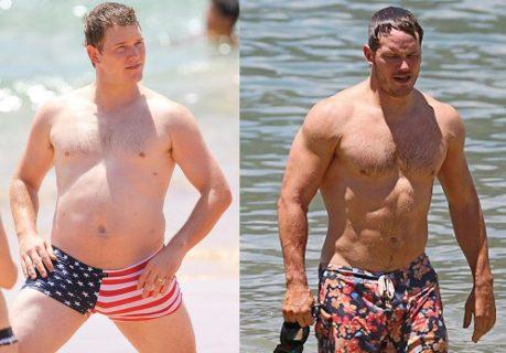Крис Пратт до и после тренировок