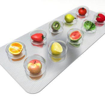 Пластина с продуктами вместо таблеток