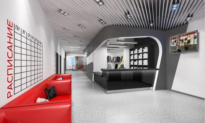 Дизайн холла фитнес-клуба