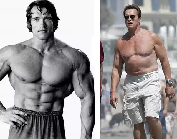 Arnold Schwarzenegger then and now