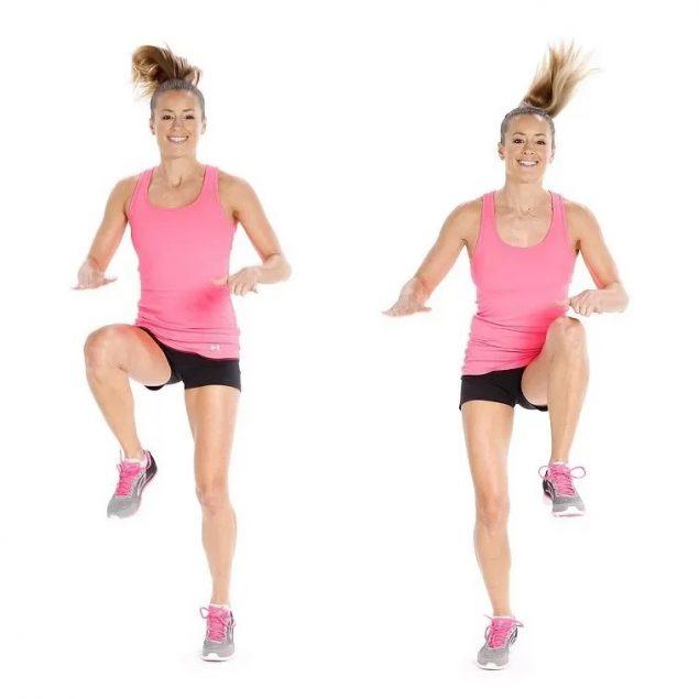 Прыжки с поочередным подтягиванием коленей