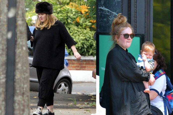 Адель беременная и после родов