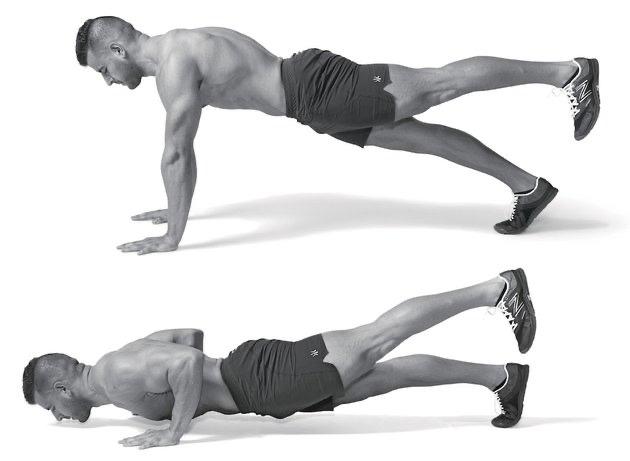 Отжимания с одной ногой на весу