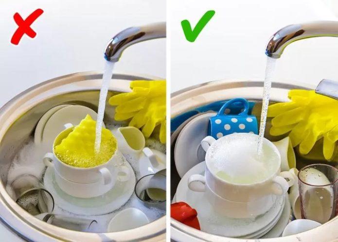 Не замачивать посуду в раковине